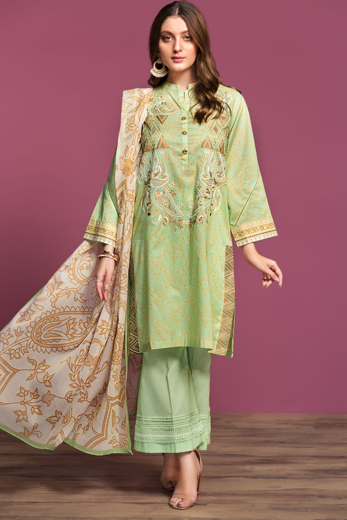 42001084- Digital Printed Embroidered Lawn, Cambric & Rib Voil 3PC