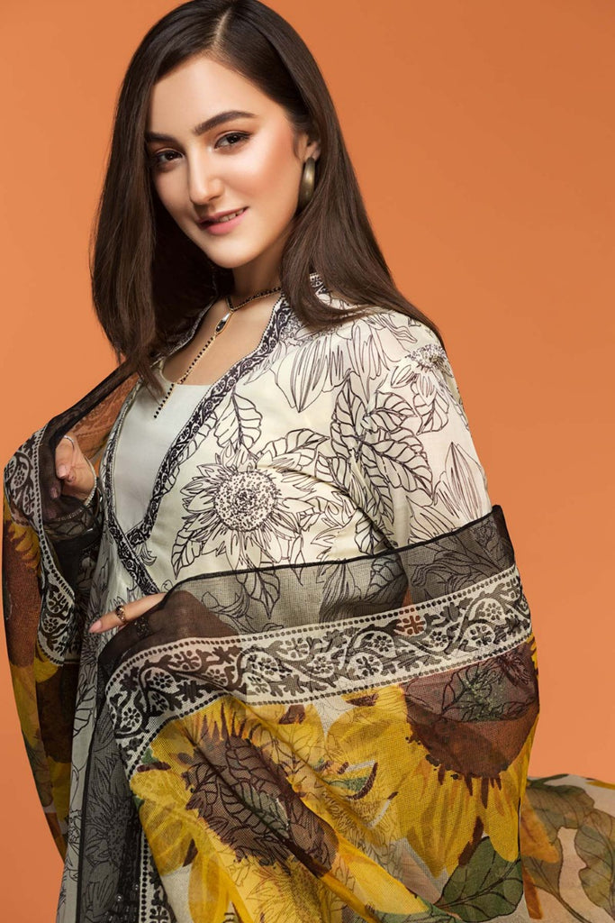 42001483- Printed Lawn & Voil 2PC