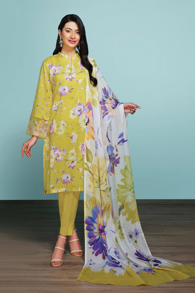42001205- Digital Printed Embroidered Lawn, Cambric & Voil 3PC