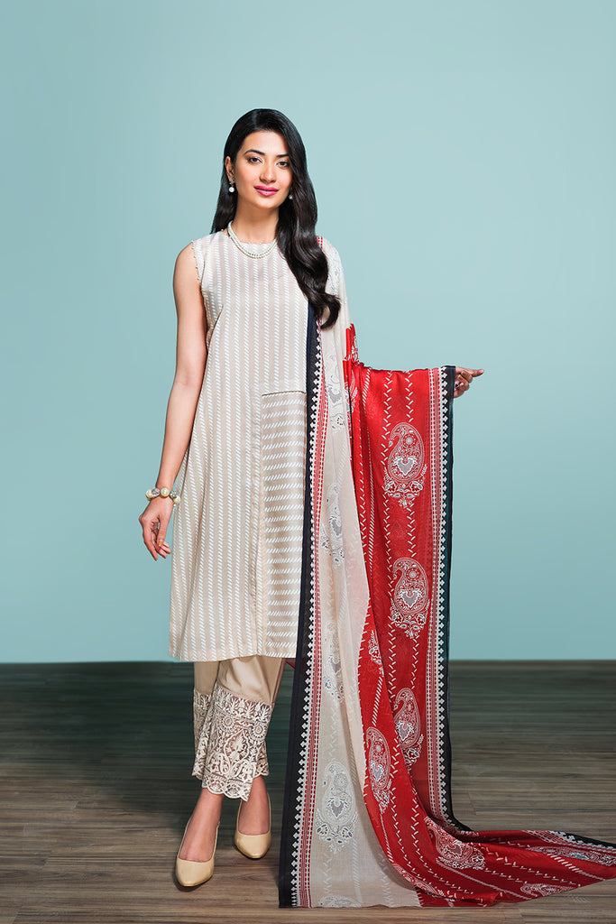 42001208- Printed Embroidered Lawn, Cambric & Voil 3PC
