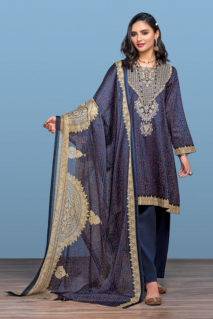 42001210- Printed Embroidered Lawn, Cambric & Voil 3PC
