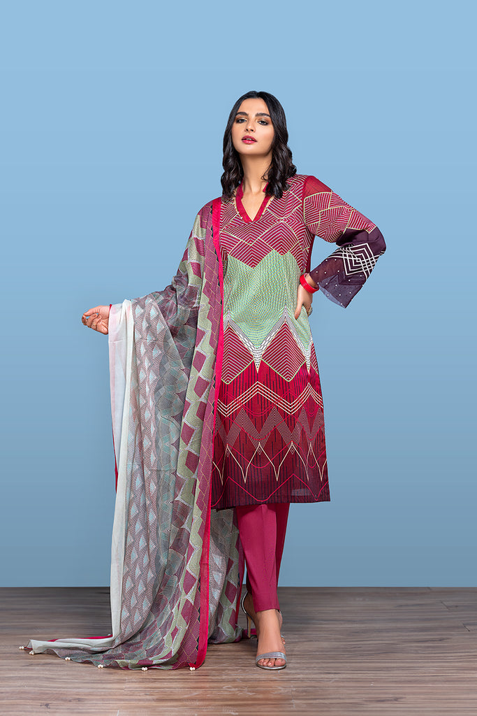 42001229- Digital Printed Lawn, Cambric & Voil 3PC