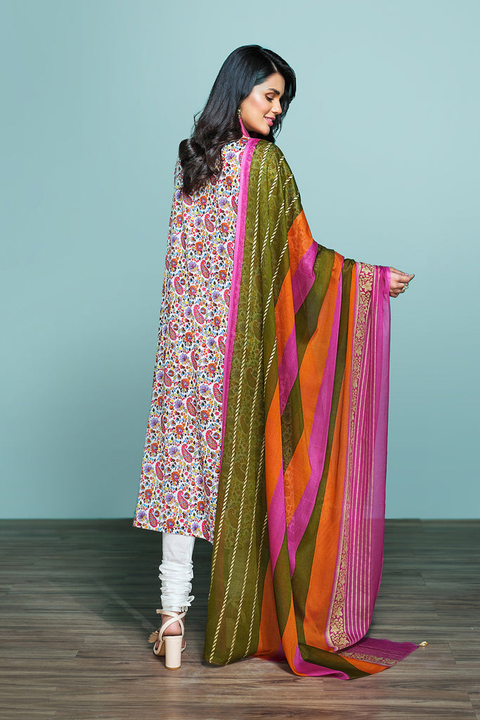 42001237-Printed Lawn, Cambric & Voil 3PC