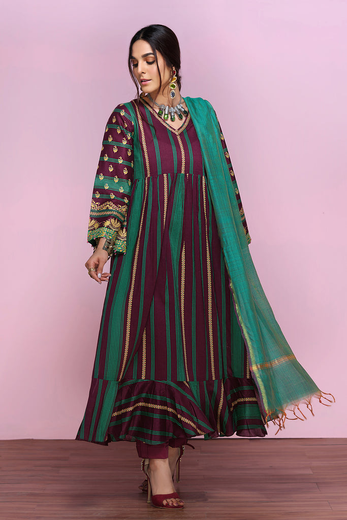 42001251- Gold Printed Lawn, Cambric & Fancy Yarn Dyed 3PC