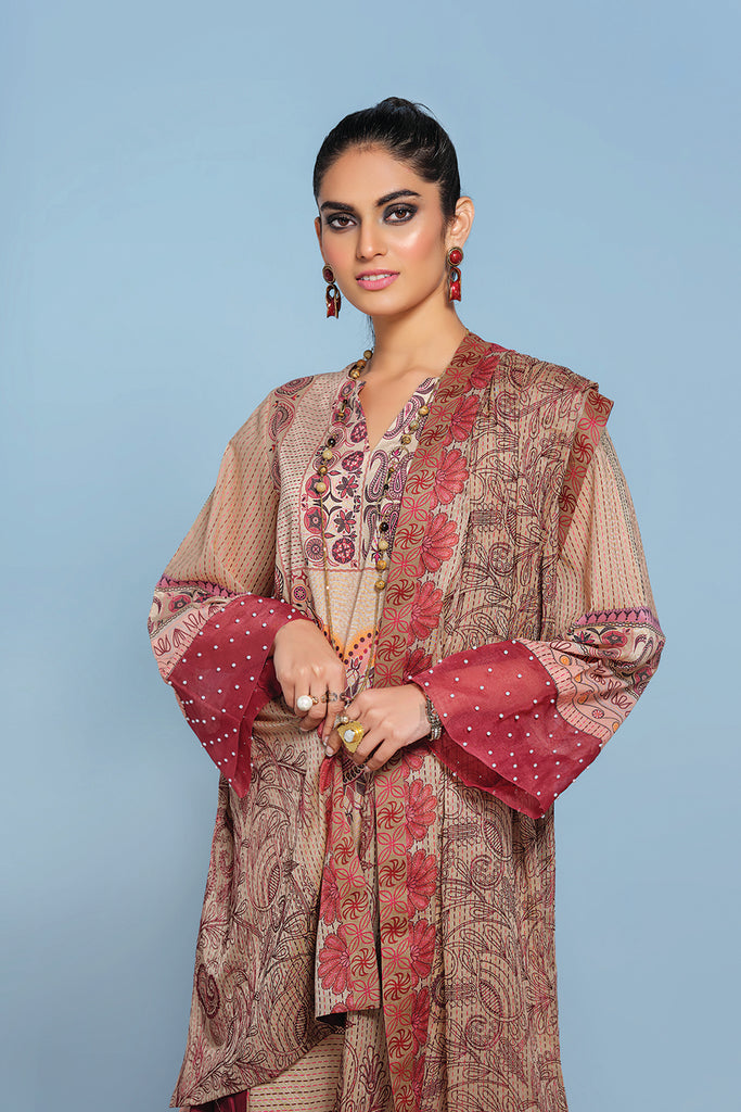 42001287- Digital Printed Embroidered Lawn, Cambric & Voil 3PC