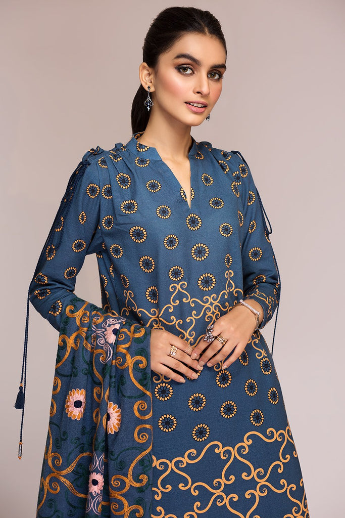 42003441-Digital Printed Khaddar, Embroidered Shawl 3PC