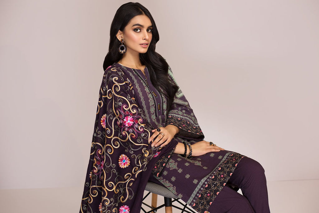 42003442- Digital Printed Khaddar, Embroidered Shawl 3PC