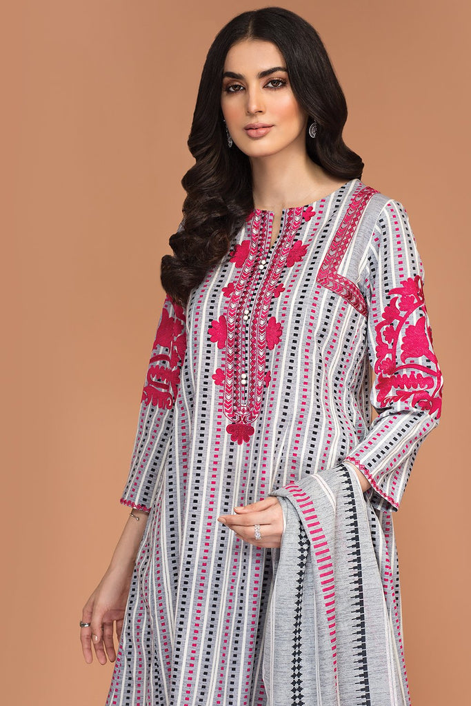 42003523-Printed Embroidered Khaddar, Printed Karandi 3PC