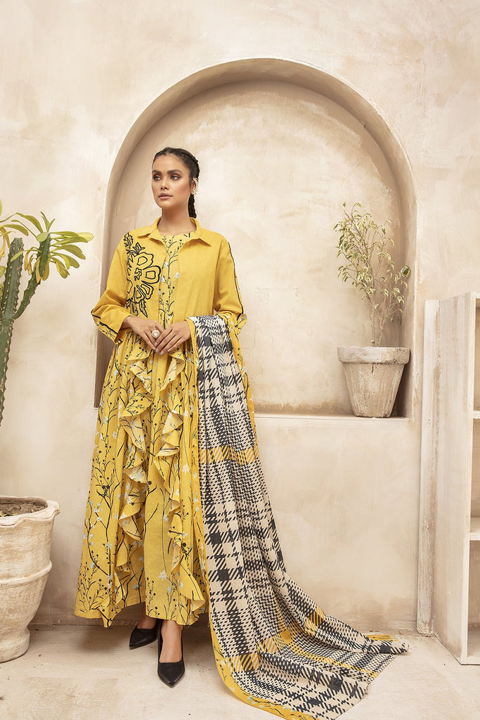 42003744 Digital Printed Karandi & Khaddar Fabric - 3PC