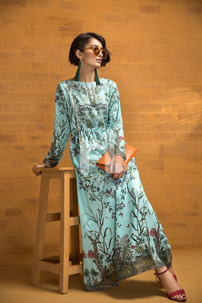 FS19-72 Blue Printed Stitched Micro Modal Fusion Dress - 1PC