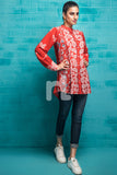 FS19-84 Red Printed Stitched Micro Modal Fusion Top - 1PC