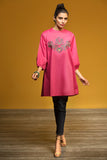 FW19-17 Pink Dyed Embroidered Stitched Karandi Fusion Top - 1PC