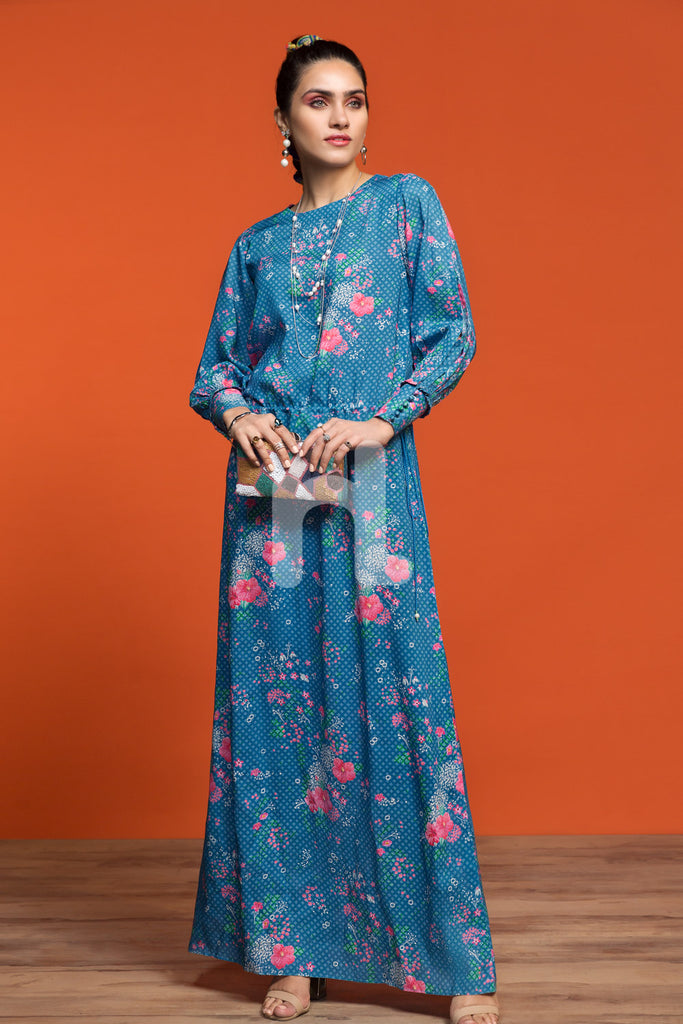 FW19-21 Blue Printed Stitched Micro Modal Long Fusion Dress - 1PC