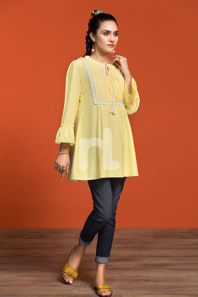 FW19-32 Yellow Dyed Stitched Cotton Fusion Top - 1PC