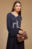 GG WH – Navy Blue Plain Dyed Stitched Straight Viscose & Cotton Shirt - 1PC