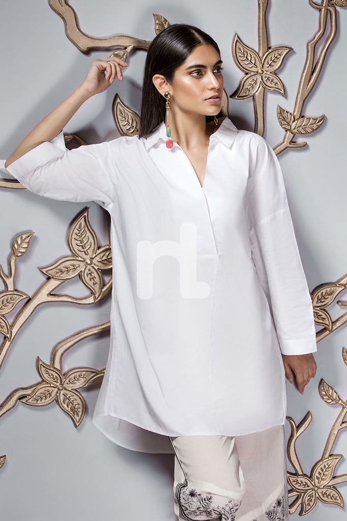 GG WH-White Dyed Stitched Cotton Top - 1PC
