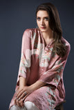 PE17-30 Pink Digital Printed Stitched Silk Shirt- 1PC