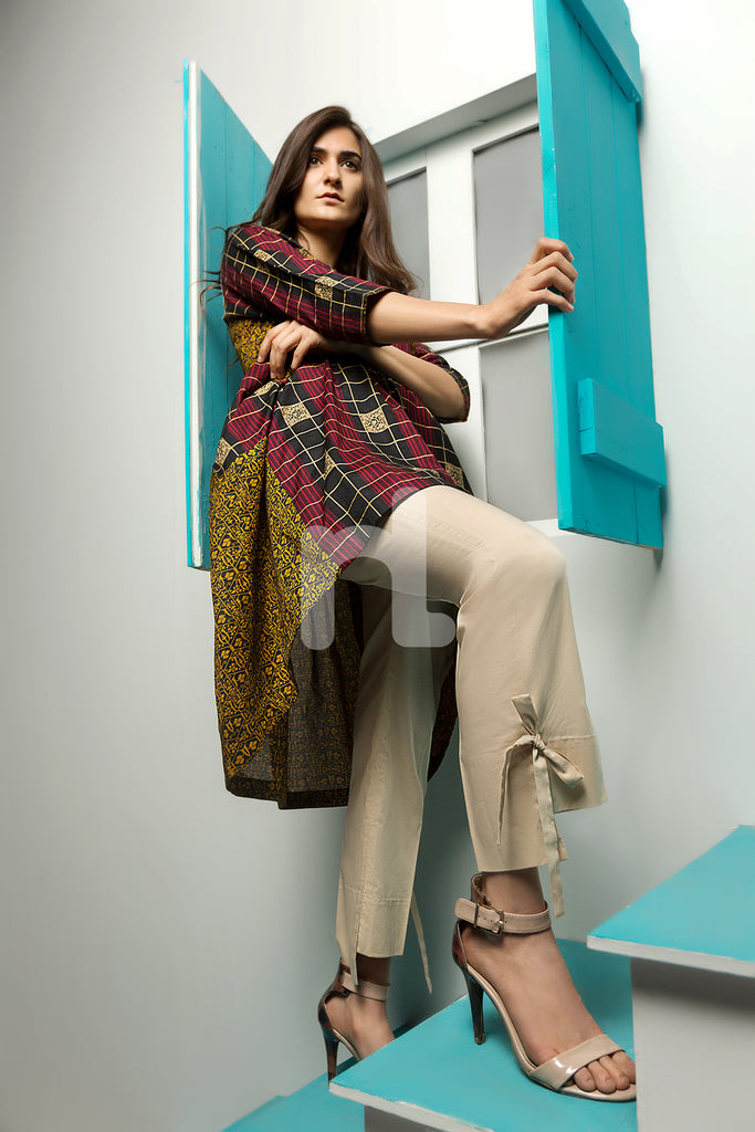 PE18-64 Beige Dyed Stitched Cambric Trouser for Women