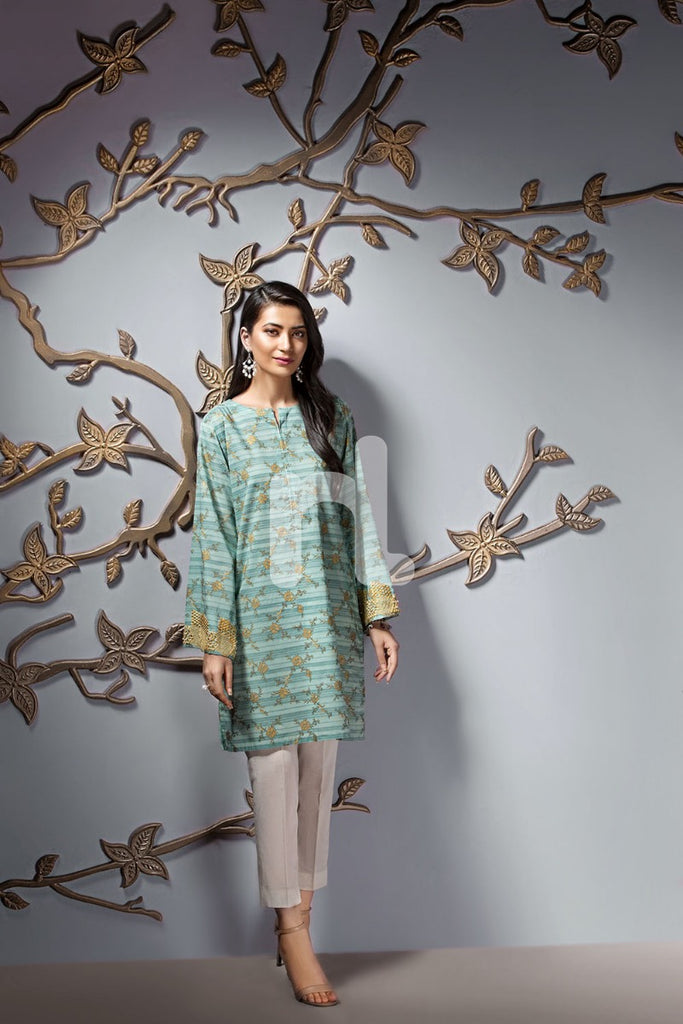 PE19-119 Sea Green Printed Embroidered Stitched Lawn Shirt - 1PC