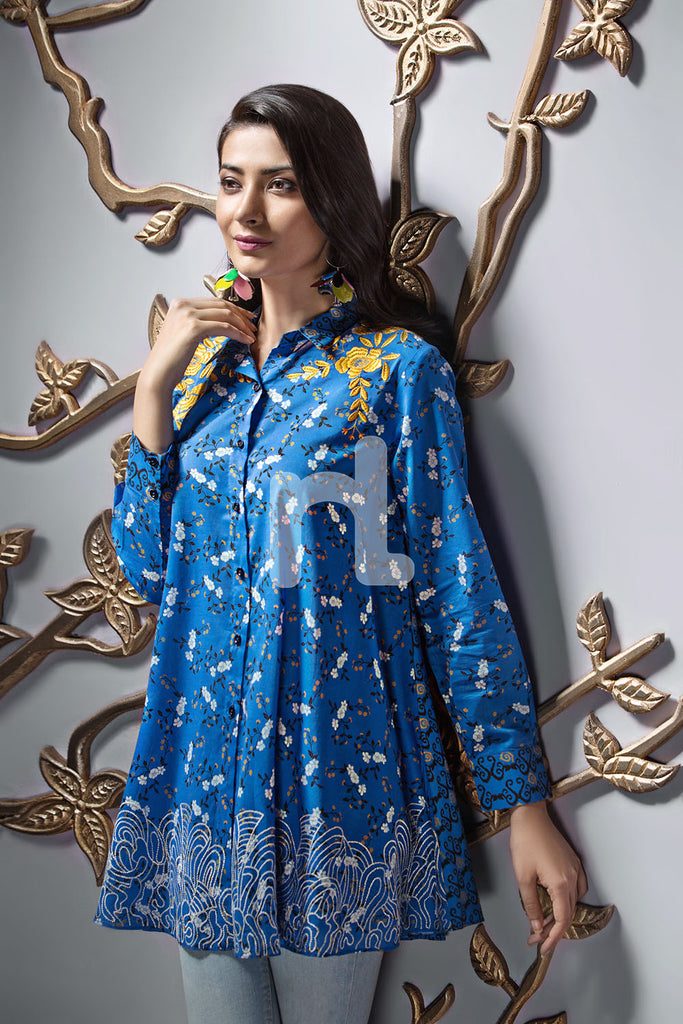 PE19-121 Blue Printed Embroidered Stitched Lawn Shirt - 1PC