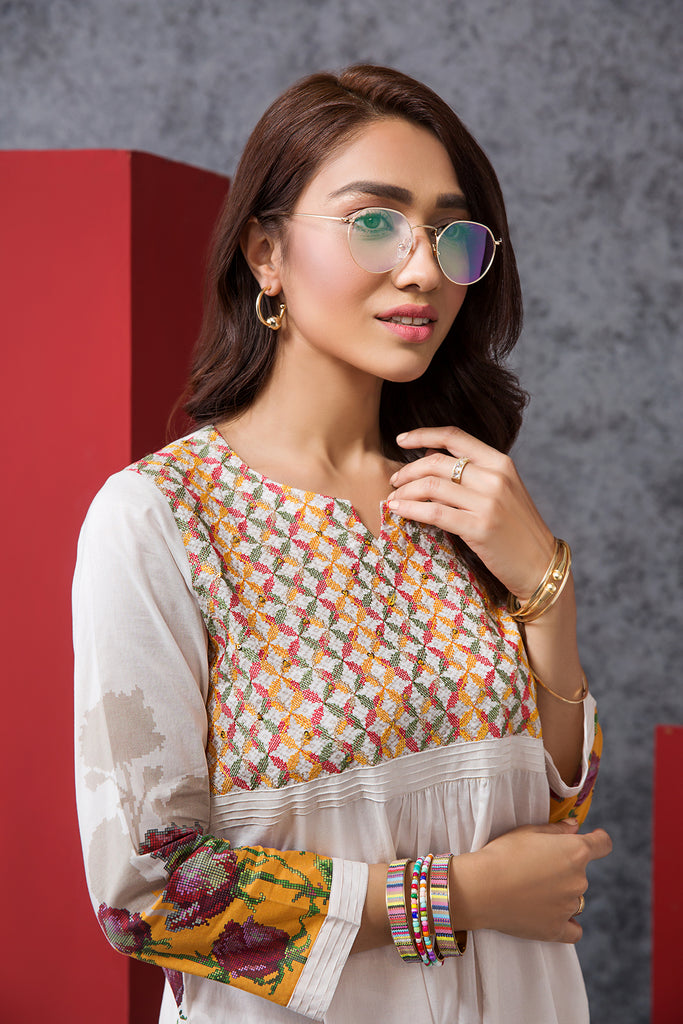 PE20-06 Digital Printed Embroidered Stitched Lawn Shirt - 1PC