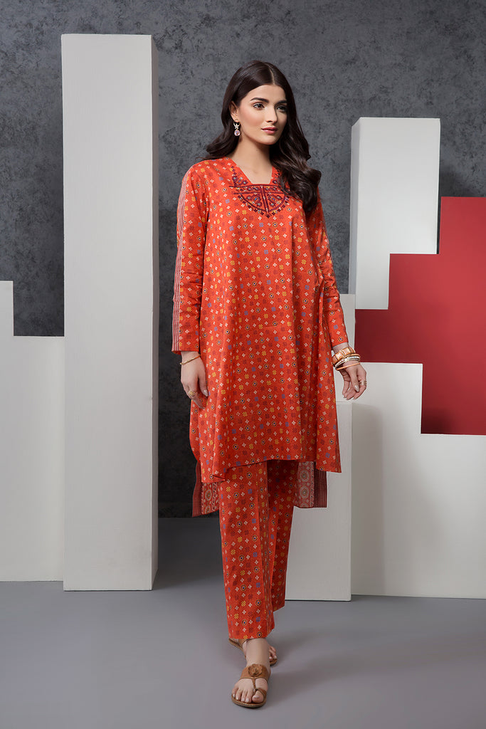 PE20-17 Printed Embroidered Stitched Lawn Shirt & Trouser - 2PC