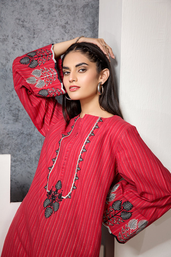 PE20-40 Embroidered Stitched Yarn Dyed Shirt - 1PC