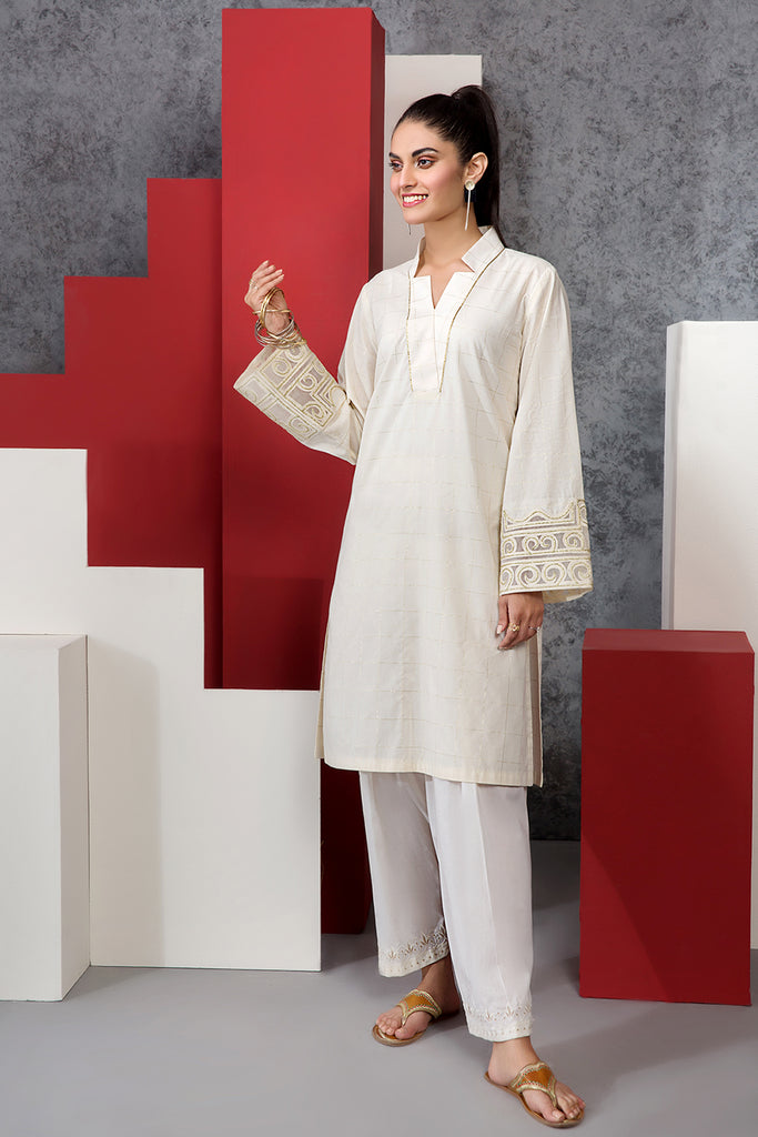 PE20-48 Embroidered Stitched Yarn Dyed Shirt - 1PC