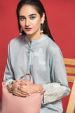 PPE19-10 Grey Digital Printed Embroidered Stitched Lawn Shirt - 1PC