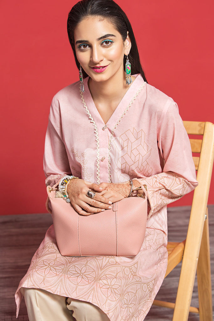 PPE19-38 Pink Digital Printed Stitched Lawn Shirt - 1PC