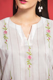 PPE19-46 Off White Printed Embroidered Stitched Lawn Shirt - 1PC