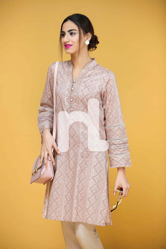 PS17-136 Pink Embroidered Stitched Lawn Shirt - 1PC