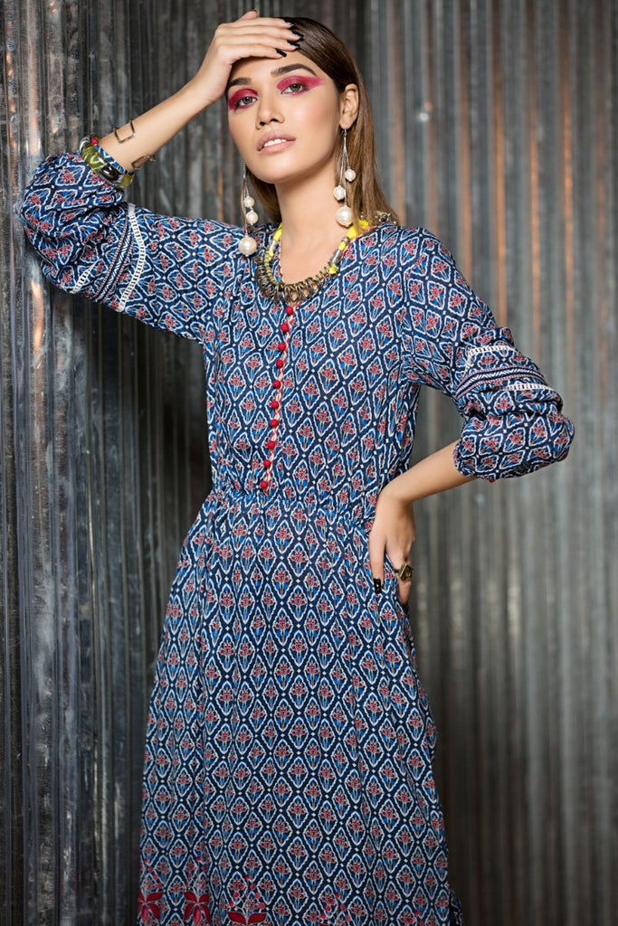 PS18-124 Blue Digital Printed Stitched Micro Modal Long Fusion Dress - 1PC