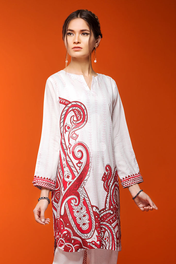 PS18-198 White Digital Printed Stitched Lawn Shirt - 1PC