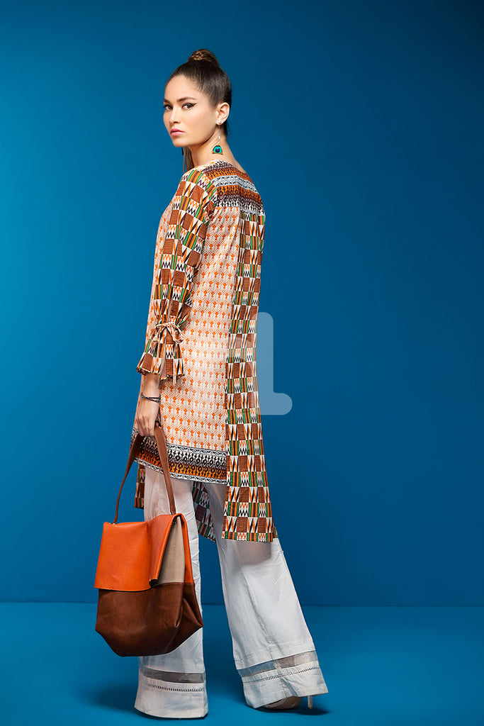 PS18-224 Beige Digital Printed Stitched Lawn Shirt - 1PC