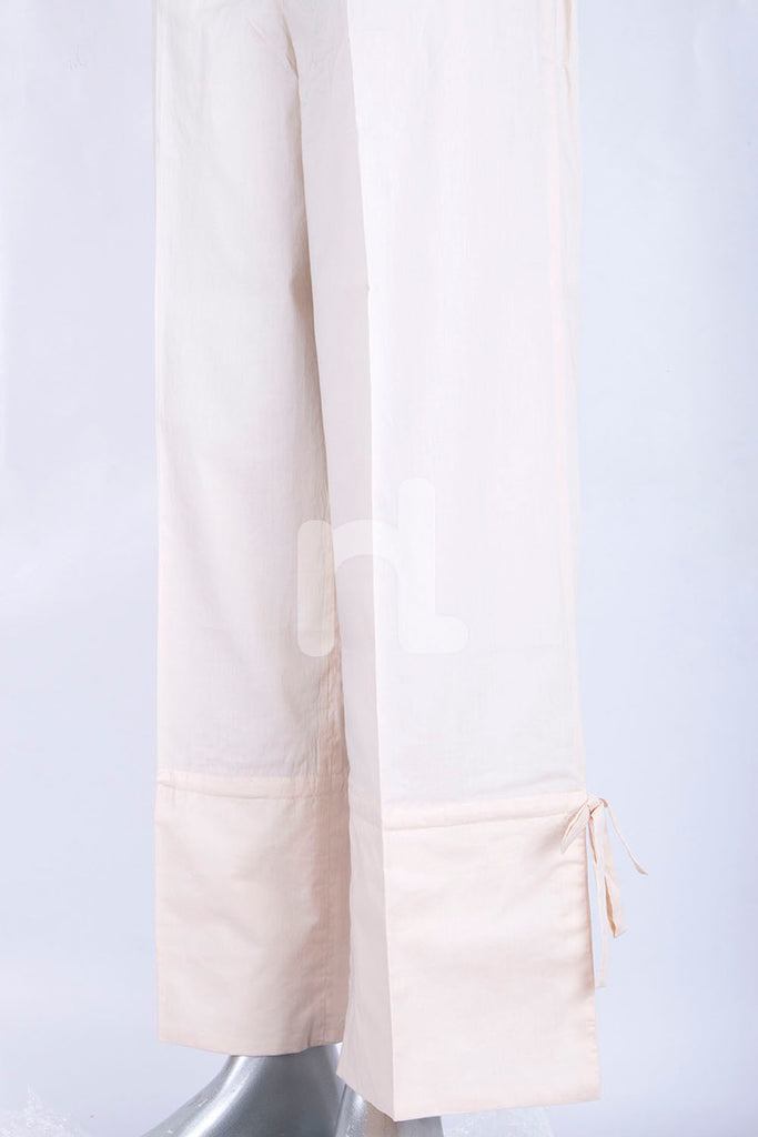 PS18-283 Off White Dyed Stitched Cambric Trouser for Women