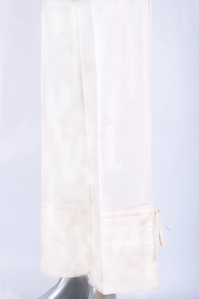 PS18-283 White Dyed Stitched Cambric Trouser for Women