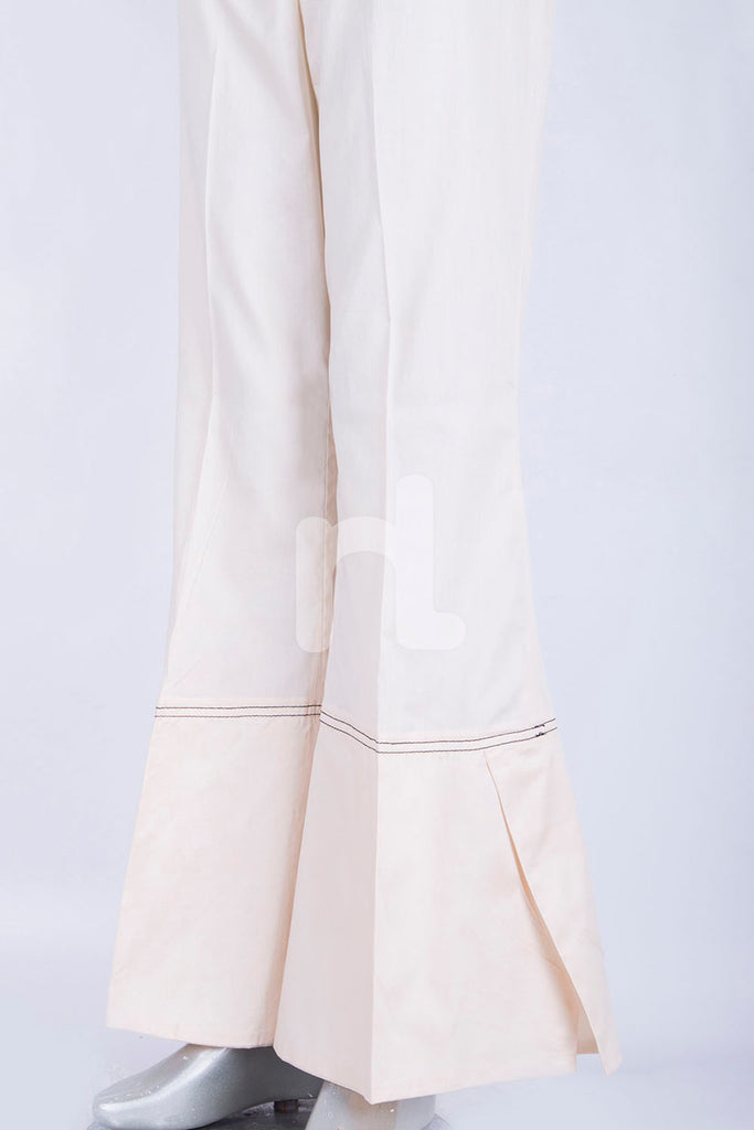 PS18-294 Off White Dyed Stitched Cambric Trouser for Women
