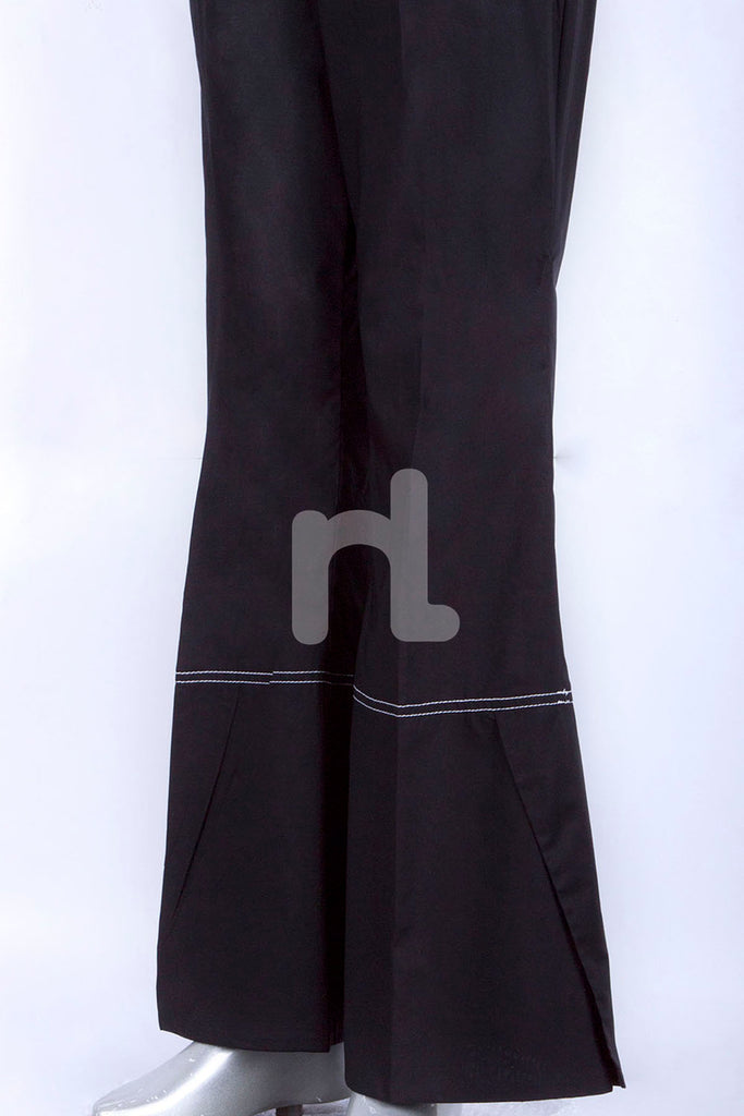 PS18-295 Black Dyed Stitched Cambric Trouser for Women