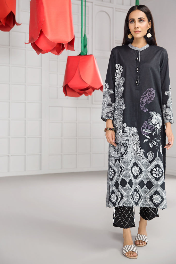 PS19-09 Black Printed Stitched Shirt - 1PC