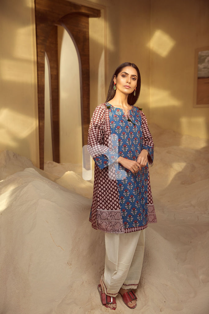 PS19-105 Red Digital Printed Stitched Lawn Shirt - 1PC