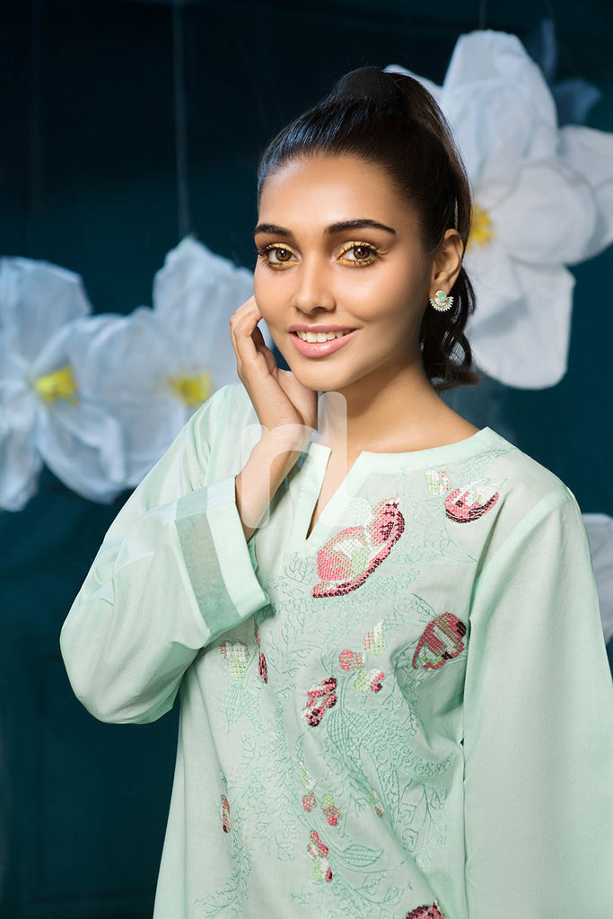 PS19-170 Green Dyed Embroidered Stitched Lawn Shirt - 1PC