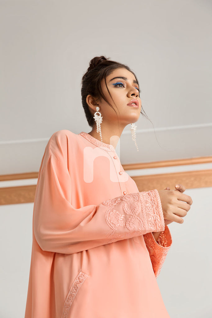 PS19-39 Peach Dyed Embroidered Stitched Georgette Shirt - 1PC