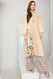 PS19-61 Peach Printed Embroidered Stitched Lawn Shirt & Printed Trouser - 2PC