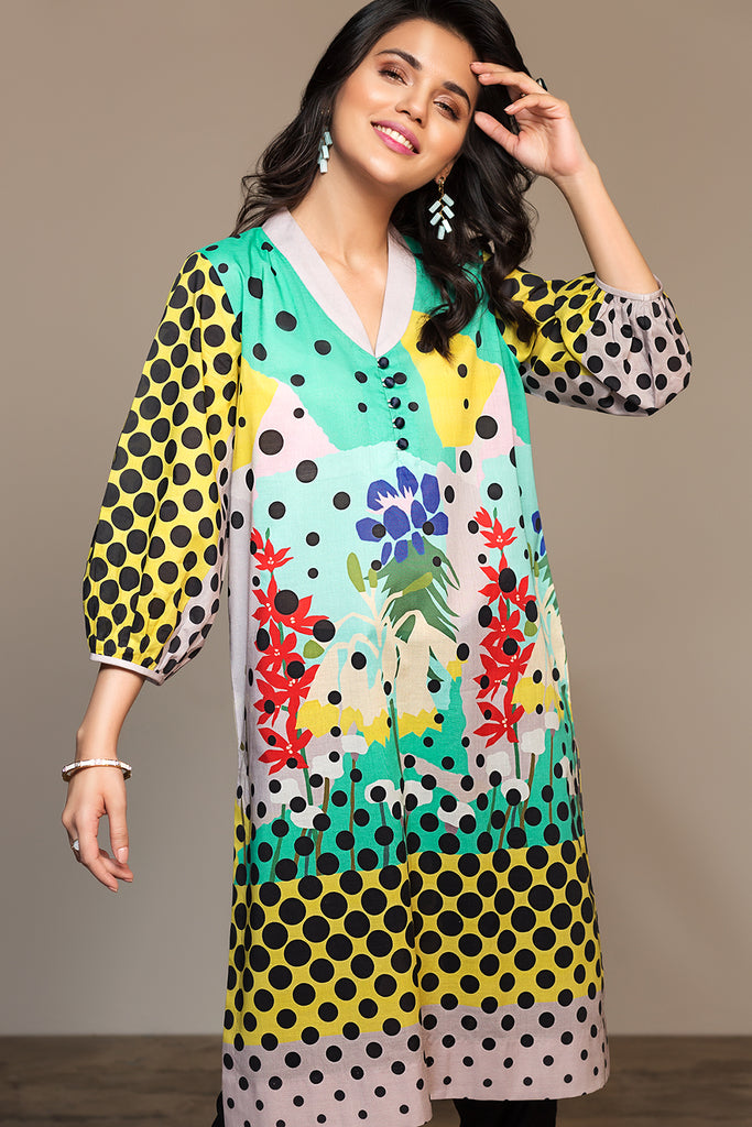 PS20-100 Digital Printed Stitched Lawn Shirt - 1PC
