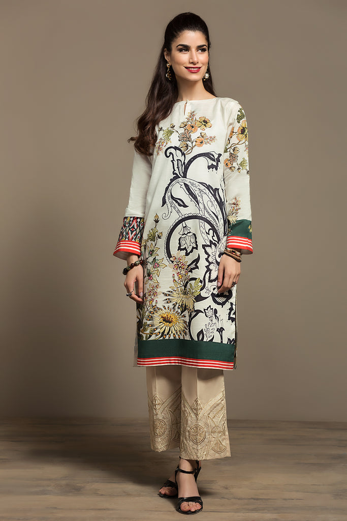 PS20-132 Digital Printed Stitched Slub Lawn Shirt - 1PC