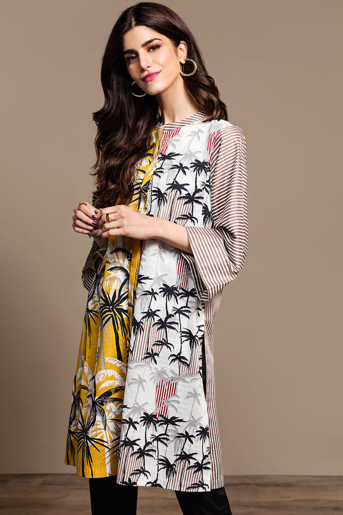 PS20-144 Printed Stitched Slub Lawn Shirt - 1PC