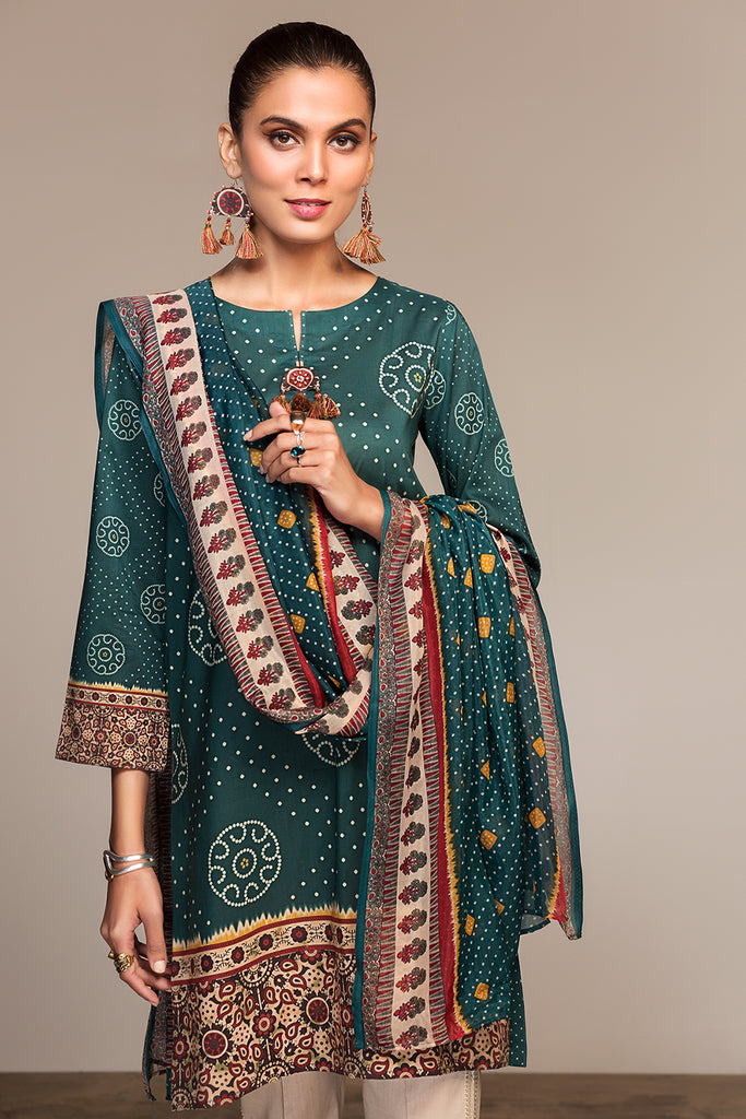 PS20-79 Printed Stitched Lawn Shirt & Printed Silk Dupatta - 2PC