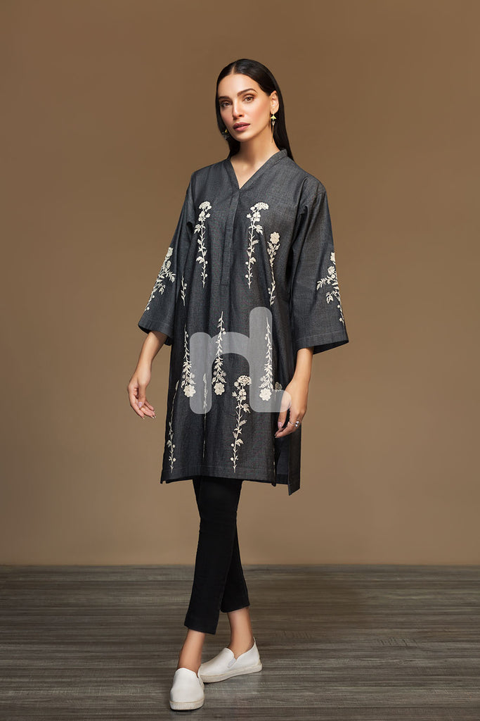 PW19-02 Black Dyed Embroidered Stitched Denim Shirt - 1PC