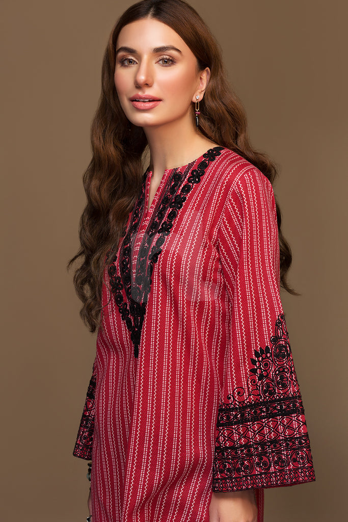 PW19-100 Red Printed Embroidered Stitched Karandi Shirt - 1PC